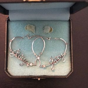 Juicy Couture silver heart earrings